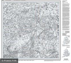 Bedford & Huntingdon (1805) Old Edition Folded Sheet Map