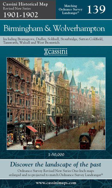 Birmingham & Wolverhampton (1901) Revised New Colour Edition Folded Sheet Map