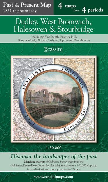 Dudley, West Bromwich, Halesowen & Stourbridge (1831) Past & Present Folded Sheet Map