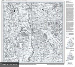 Lincoln & Newark-on-Trent (1824) Old Edition Folded Sheet Map
