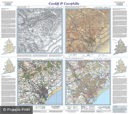 Cardiff & Caerphilly (1833) Past & Present Folded Sheet Map