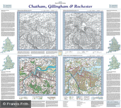 Chatham, Gillingham & Rochester (1805) Past & Present Folded Sheet Map