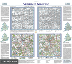 Guildford & Godalming (1816) Past & Present Folded Sheet Map