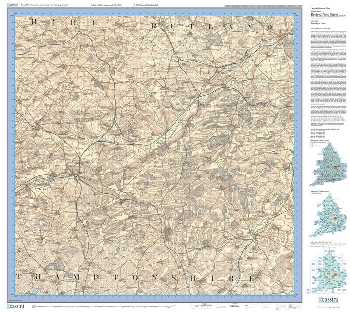 Kettering & Corby (1901) Revised New Colour Edition Folded Sheet Map