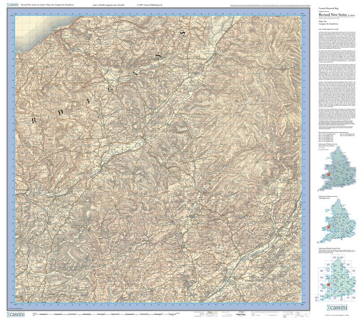 Lampeter & Llandovery (1901) Revised New Colour Edition Folded Sheet Map