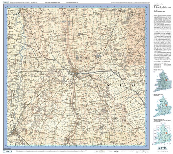 Lincoln & Newark-on-Trent (1902) Revised New Colour Edition Folded Sheet Map