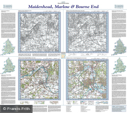 Maidenhead, Marlow & Bourne End (1822) Past & Present Folded Sheet Map