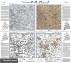 Nuneaton, Hinckley & Bedworth (1835) Past & Present Folded Sheet Map