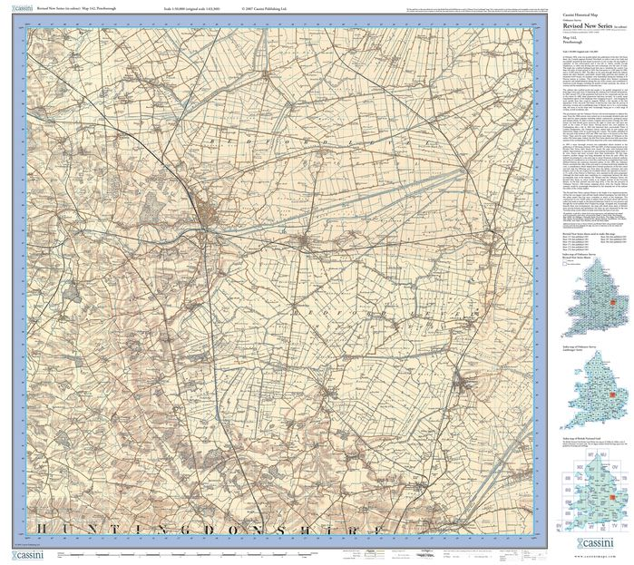 Peterborough (1901) Revised New Colour Edition Folded Sheet Map