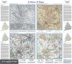 St Helens & Wigan (1842) Past & Present Folded Sheet Map