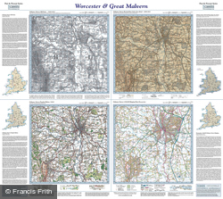 Worcester & Great Malvern (1828) Past & Present Folded Sheet Map
