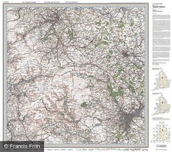Sheffield & Huddersfield (1923) Popular Edition Folded Sheet Map